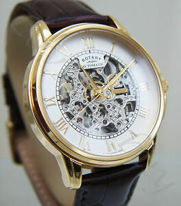 Rotary-Men-039-s-Gold-Plated-Skeleton-Automatic-Watch-Brown-Strap-RRP-190-2