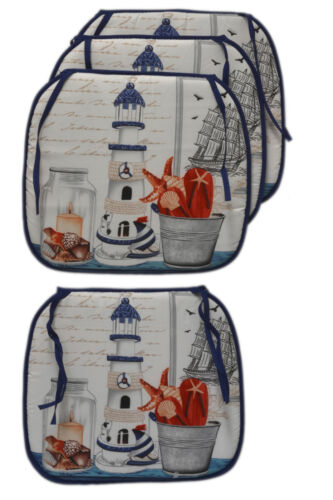Set 4 Nautical Sea Shore Beach Blue /& White Bistro Kitchen Cushion Chair Covers