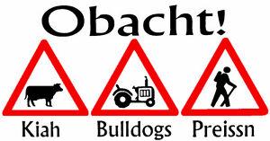 Aufkleber Obacht Kiah Bulldogs Preissn Kühe Traktoren