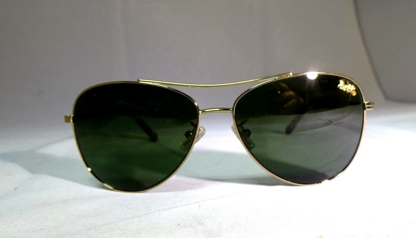 40e2f01056 Coach Hc7079 932271 Gold Frame Gray Green Lens 58mm Aviator Sunglasses for  sale online