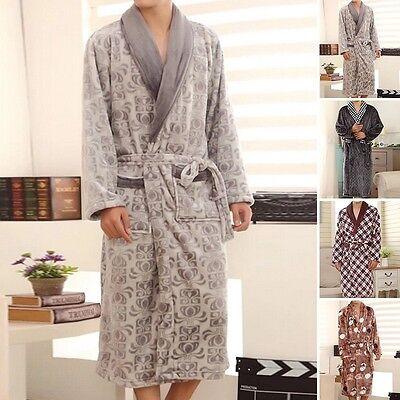 Men New Yukata Kimono Pajamas Comfort Flannel Bathrobe Dressing Gown Loungewear