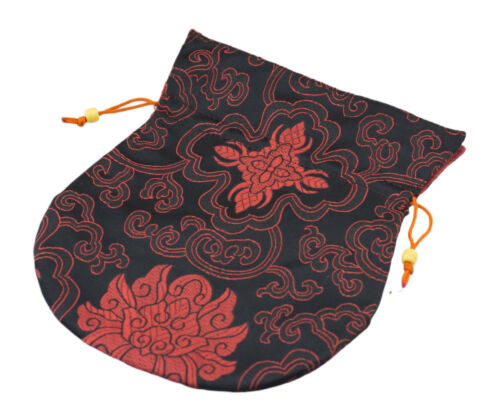 Große Schutzhülle Tibetische für Mala Rosenkranz Geldbeutel Stoff Brokat Schwarz