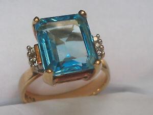 10kt-Topaz-amp-Diamond-Designer-Gold-Ring-Size-7-75