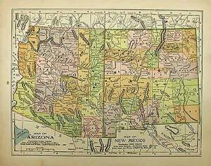 ANTIQUE ARIZONA NEW MEXICO Antique Color State Map Original - Authentic world map