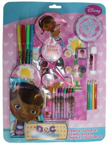 DOC MCSTUFFINS 26 PIECE STAMP AND ART SET GIRLS SCHOOL STATIONARY PENS GIFT