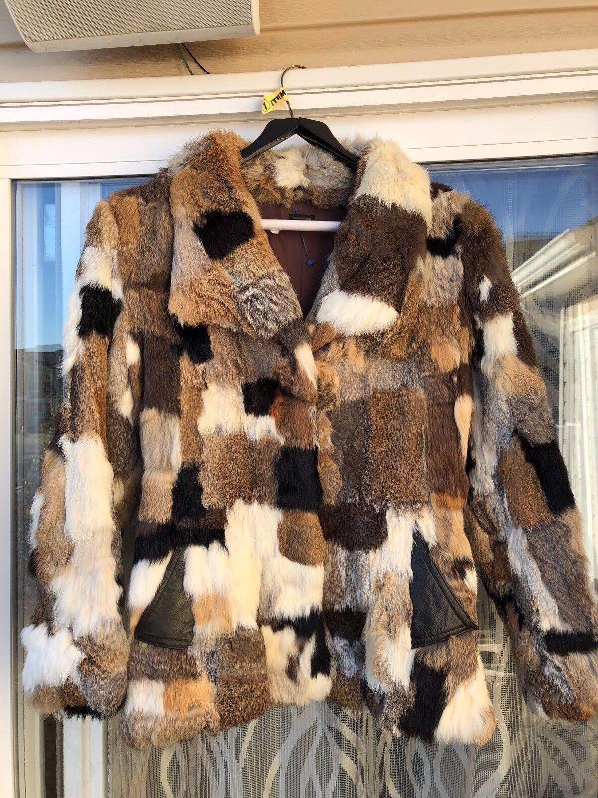 Ladies Rabbit Fur Size Medium Tan Multi color