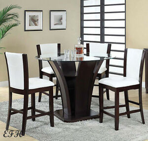 Malik modern round glass top espresso wood counter dining table set