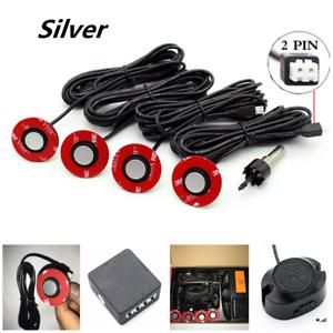 Silver Car Parking Sensors 4 Adjustable 16mm Flat Hidden Sensors Reverse Backup