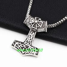 Nordic Iron Cross Mjolnir Viking Pendant Box Chain Myth THOR'S HAMMER Necklace