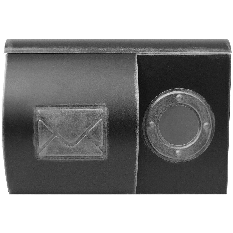 Nostalgischer Wandbriefkasten mit Zeitungsfach & Sichtfenster Postbox Silber