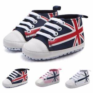 2f68fac255329 Nouveau Né Bébé Drapeau Union Jack Chaussures Toile Anti-dérapant ...