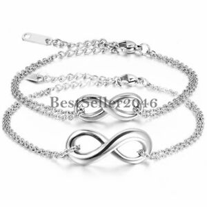 Men Women Infinity Love Symbol Stainless Steel Chain Anklet Bracelet Jewelry