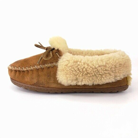 L.L. Bean Wicked Good Brown Leather Shearling Moccasin Slippers Womens Size 8M