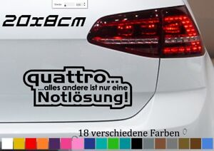 quattro-Notloesung-20x8cm-AUDI-A5-A6-A8-Q5-Tuning-Aufkleber-JDM-OEM-Sticker