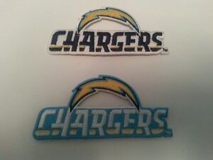 """2 - Los Angeles Chargers Embroidered 4"""" x 2"""" WHITE - BLUE"""