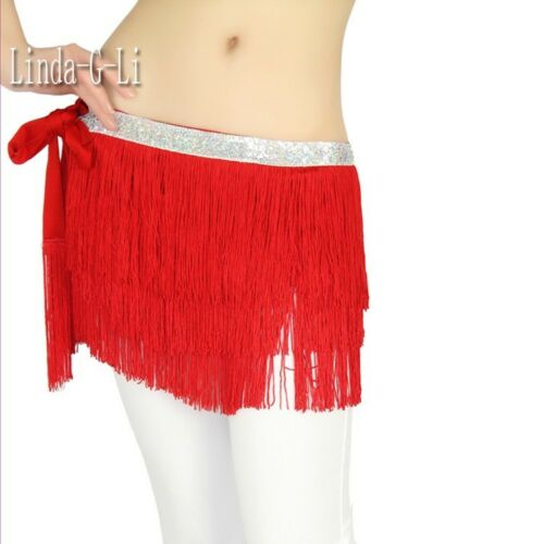 Profesional New Belly Dance 3 Layer Tassel Hip Scarf Belt Tribal 6 Colors 8//3