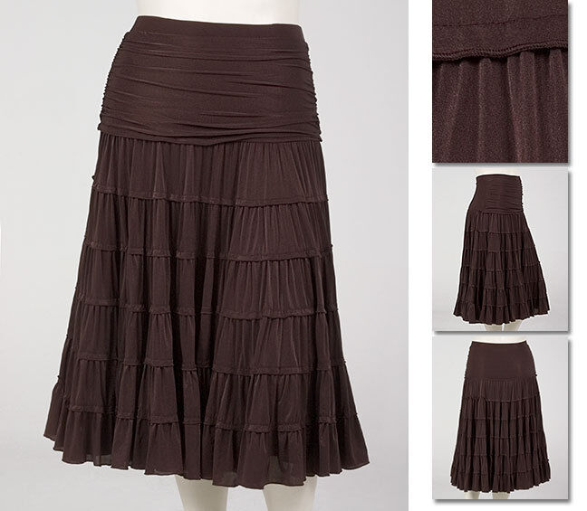 NEW   Zaftique TIMELESS TIERED SKIRT Coffee Brown 00Z 0Z   Womens 12 14   M L