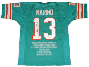 size 40 2e1a8 d2041 Details about DAN MARINO SIGNED AUTOGRAPHED MIAMI DOLPHINS #13 STAT JERSEY  JSA