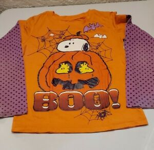 Girls Peanuts SNOOPY Halloween long sleeve Shirt BOO NEW