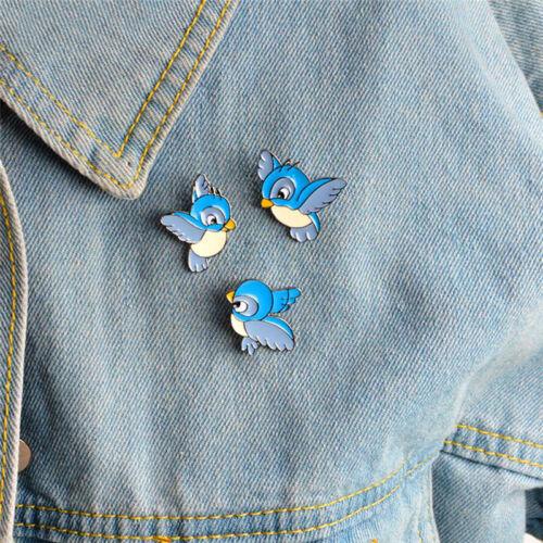 3 x Set esmalte pájaro azul broche Animal Bin Pin chaqueta camiseta insignia