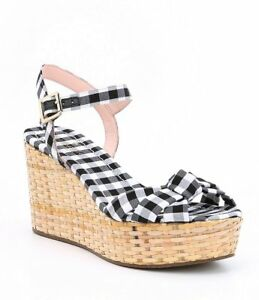 427556f59aca NEW KATE SPADE TILLY BLACK WHITE GINGHAM WEDGE SANDALS SHOES SZ 10 ...