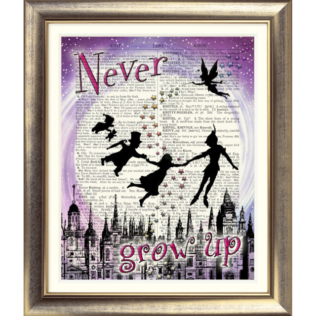 ART PRINT ON ORIGINAL ANTIQUE BOOK PAGE Peter Pan Dictionary Picture Quote Old