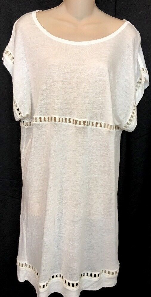 Zimmerman White Dress Instinct Ladder T-dress  Linen Blend  Size 0 NWT