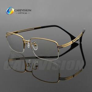 c9dfd8e4b6 Business Men s Pure Titanium Half Rimless Eyeglasses Frames Optical ...