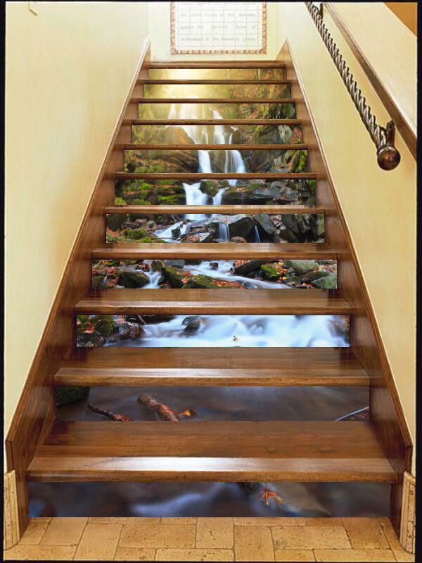 3D Stone waterfall9 Stair Risers Decoration Photo Mural Vinyl Decal Wallpaper AU