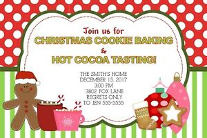 Christmas Cookie Party Invite.Details About Cookies Cocoa Holiday Christmas Party Invitation