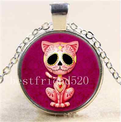 Pink Zombie Sugar Kitten Cabochon Glass Tibet Silver Chain Pendant Necklace