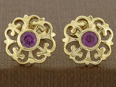 E076- 9ct Solid Gold NATURAL Rhodolite Garnet  Fleur-de-Lis Stud Earrings