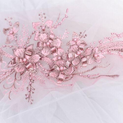9 couleurs Robe de mariée dentelle Applique Perles Broderie Mariage Motif Trim 1 pc