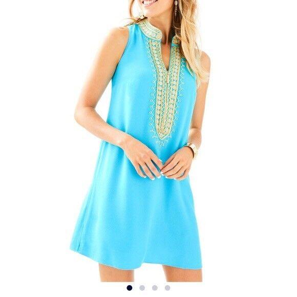 New Lilly Pulitzer Jane Embroidered Shift Dress Ibiza Ibiza Ibiza bluee Size 4 eb1b79