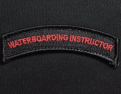 WATERBOARDING INSTRUCTOR TAB ROCKER BLACK OPS RED VELCRO® BRAND FASTENER PATCH