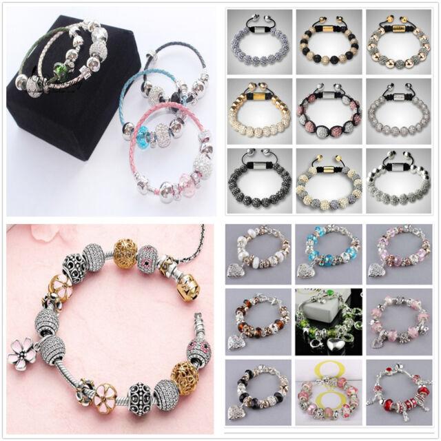 New Wholesale Solid 925SILVER European charm bead Chain Bracelet Bangle+Gift Box