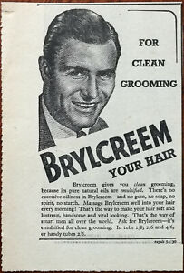 Brylcreem Your Hair For Clean Grooming Vintage Advertisement 1952