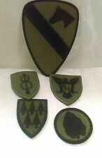 Lot Of 5 US Army Subdued Patches 1st Cavalry 24th Infantry Taro Leaf Support Bat