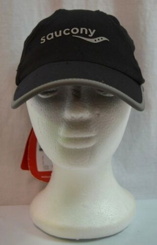 NEW Saucony A.M Adjustable One Size Black Running Cap