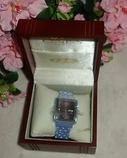 Oniss Paris crystal Accented  Hi tech blue Ceramic brown dial Watch new