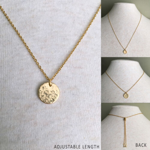 """Simple /& Chic Hammered Coin Pendant Necklace ADJUSTABLE Length Choker to 26/"""""""