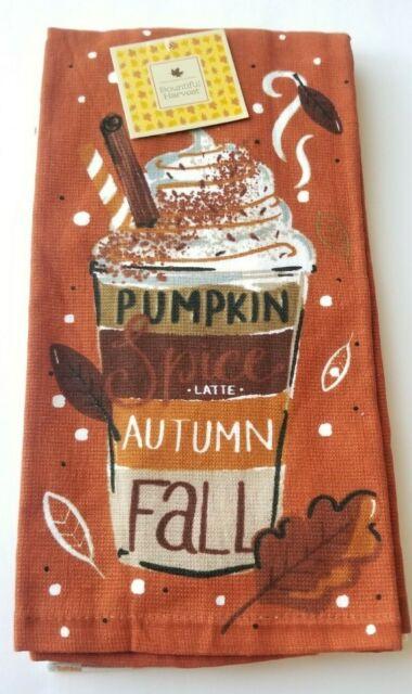 Pumpkin Spice Latte Autumn Fall 2-Pack KITCHEN TOWEL 100% Cotton PSL Harvest NEW