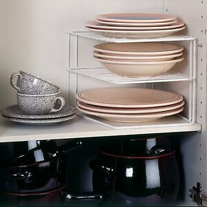 Cupboard-Dinner-Plate-Organiser-Space-Saving-Rack-Sturdy-2-Level-Shelf-Corner