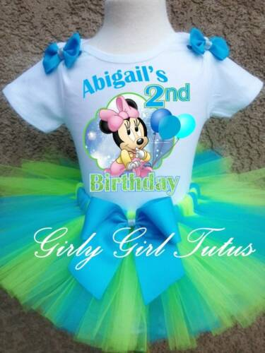Baby Girl Minnie Mouse 1st 2nd Personalized Custom Birthday Tutu Outfit Green