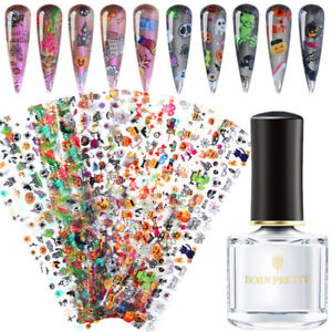 Halloween-Nail-Foil-Transfer-Stickers-Foils-Foil-Adhesive-Glue-Set-BORN-PRETTY