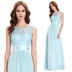 Women Long LACE Bridesmaid Dress Formal Gown Ball Party Evening Maxi Prom Dress