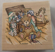 Stampendous Cherished Teddies Bear Chris With Toy Box  Wooden Rubber Stamp