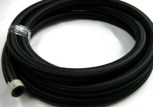 08 AN  All Black Nylon Hose 30R9 Ethanol E85 METHANOL,Compatible 15 FT length