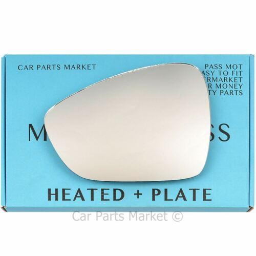 plate Left Passenger side Flat Wing mirror glass for Citroen C4 2009-18 heated