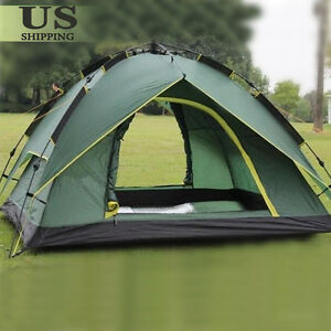 Image is loading Waterproof-3-4-People-Automatic-Instant-Pop-Up- & Waterproof 3-4 People Automatic Instant Pop Up Family Tent Camping ...